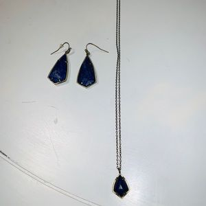 Blue and Gold Necklace and Earring Pair